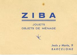 Ziba. Jouets. Objects de mènage.Targeta de visita