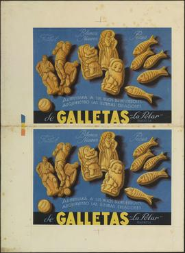 Fútbol. Blanca Nieves. Peces. Galletas La Polar. Cartelitos y calendarios. Full amb dos cartells....
